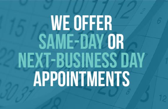 same day or next day appointments